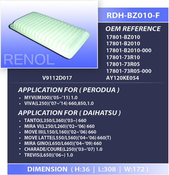 AIR DAIHATSU PERODUA=RDH-BZ010-F 17801-BZ010 17801-B2010